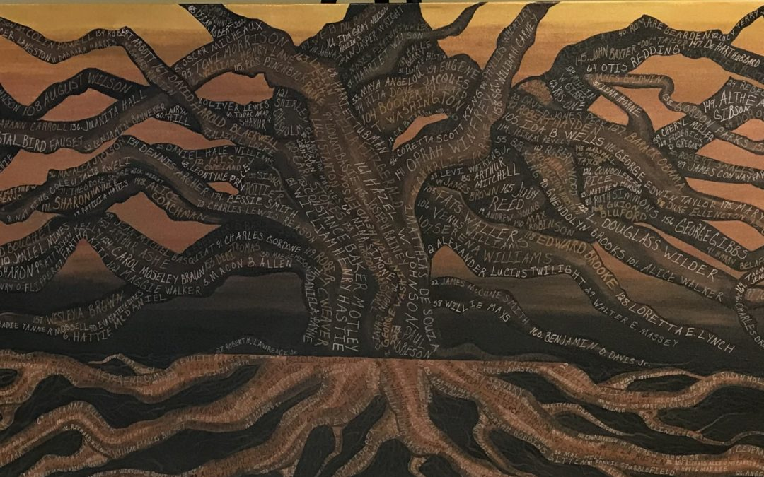 Painting of tree with branches and roots, with names written on them